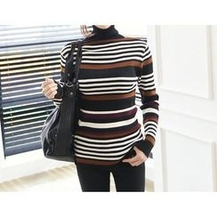 DANI LOVE - Turtle-Neck Stripe Rib-Knit Sweater