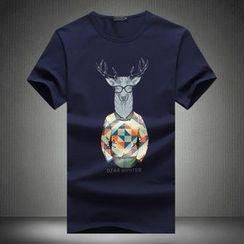 Alvicio - Deer Print Short-Sleeve T-Shirt