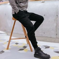 YIDESIMPLE - 立體剪裁抽繩收口錐形褲