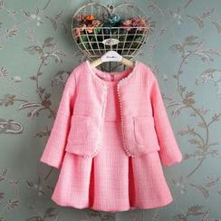Kidora - 儿童套装: 仿珍珠饰扣外套 + 无袖连衣裙