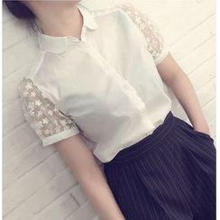 Pluvio - Flower Embroidered Short Sleeve Shirt