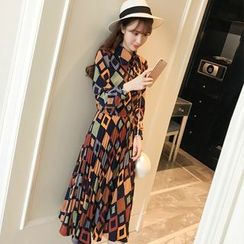 Colorful Shop - Long-Sleeve Tie-Neck Printed Dress