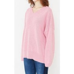 Someday, if - V-Neck Wool Blend Loose-Fit Knit Top