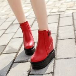 Anran - Platform Hidden Wedge Ankle Boots