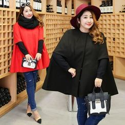 Inopine - Plain Elbow Sleeve Woolen Cape
