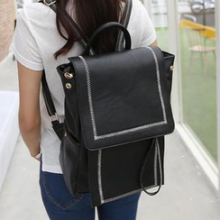 Youshine - Stitched Faux Leather Backpack