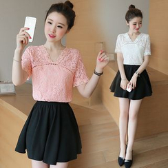 Strawberry Moon - Set: Short-Sleeve Lace Top + Skirt