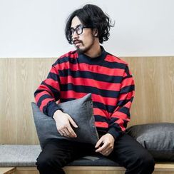 YIDESIMPLE - A/W Mock-Neck Striped Pullover