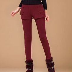 Fashion Street - Inset Shorts Fleece-Lined Leggings