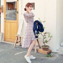 HOTPING - Long-Sleeve Round-Neck Floral Print A-line Midi Dress