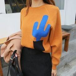 DABAGIRL - Raglan-Sleeve Cactus Print Knit Top
