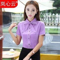 Skyheart - Short Sleeve Tie Neck Dress Shirt