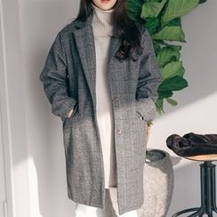 PPGIRL - Single-Breasted Herringbone Coat