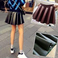 NANA Stockings - A-line Faux Leather Skirt