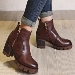 JY Shoes - Chunky Heel Side Zip Ankle Boots