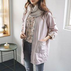 JUSTONE - Collarless Zip-Up Long Cotton Jacket