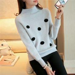 Weaverbird - Polka Dot High-Neck Thick Sweater
