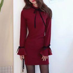 DABAGIRL - Ruffle-Cuff Beribboned Mini Bodycon Dress