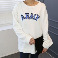 DANI LOVE - Round-Neck Lettering Sweatshirt