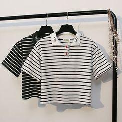 KANAMI - 短袖條紋馬球衫