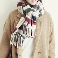 NANING9 - 流蘇格子圍巾