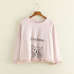 Mushi - Cat Print Fringed Long Sleeve T-Shirt