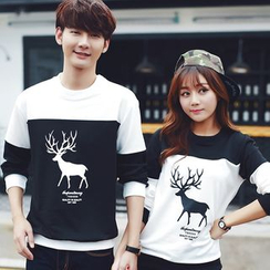 Je T'aime - Couple Matching Color Block Deer Print Pullover