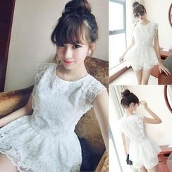 QZ Lady - Set: Cap-Sleeve Lace Peplum Top + Shorts