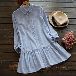 YOYO - 长袖条纹衬衫连衣裙