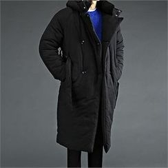 THE COVER - Double-Breasted Padded Hoodie Coat