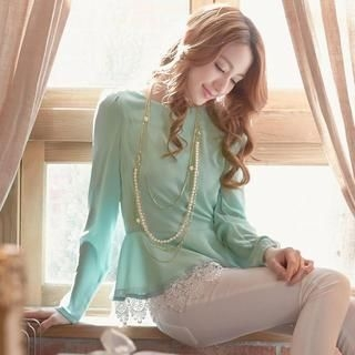 Tokyo Fashion - Long-Sleeve Lace-Trim Peplum Top