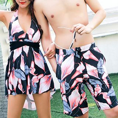 Roseate - Couple Matching Printed Swimdress / Swim Shorts