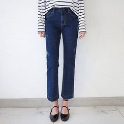 Seoul Fashion - Stitched Boot-Cut Jeans