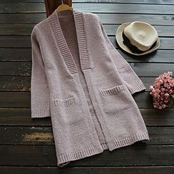 YOYO - Plain Knit Long Cardigan