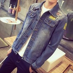 Besto - Applique Distressed Denim Jacket