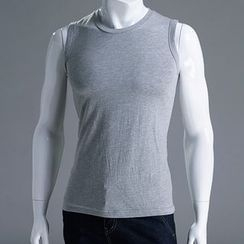 Seoul Homme - Crew-Neck Sleeveless Cotton Top