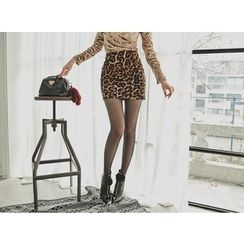 UUZONE - Leopard Print Miniskirt