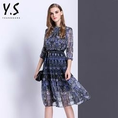 Y:Q - 3/4-Sleeve Patterned A-Line Dress