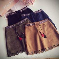 Munai - Lace-Up Paneled A-Line Skirt