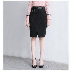 Brightful - Slit Front Pencil Skirt