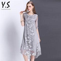 Y:Q - 碎花刺繡中袖連衣長裙