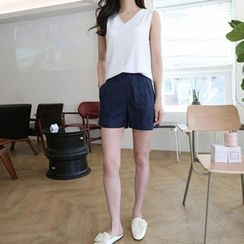 Hello sweety - Seam-Front Linen Blend Shorts