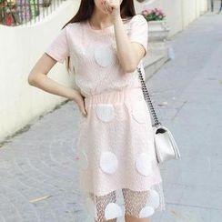 Ringnor - Set: Short-Sleeve Dotted Tulle Top + Skirt