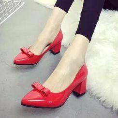 IYATO - 蝴蝶结粗跟高跟鞋