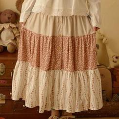Moriville - Patchwork Tiered Maxi Skirt