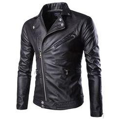 Constein - Faux Leather Biker Jacket
