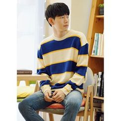 JOGUNSHOP - Crewneck Striped Knit Top