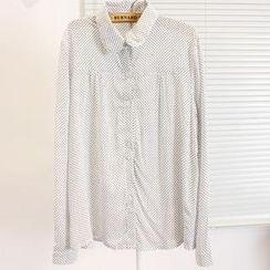 Momewear - Long-Sleeve Dotted Chiffon Blouse