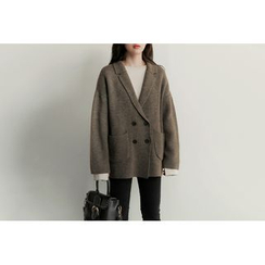 UPTOWNHOLIC - Double-Breasted Wool Blend Jacket