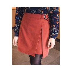 migunstyle - Belted-Detail Wrap-Front Skirt